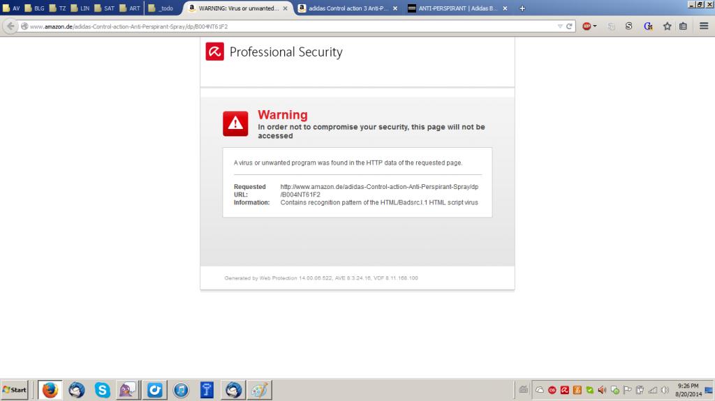 Amazon page blocked
