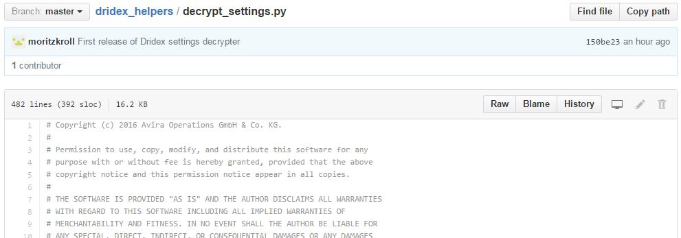 Dridex GitHub decoder screenshot