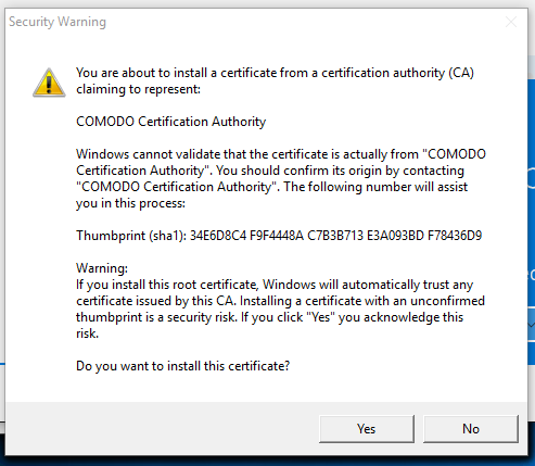 This certificate is NOT from Comodo