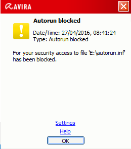 Blocking the autorun function with Avira