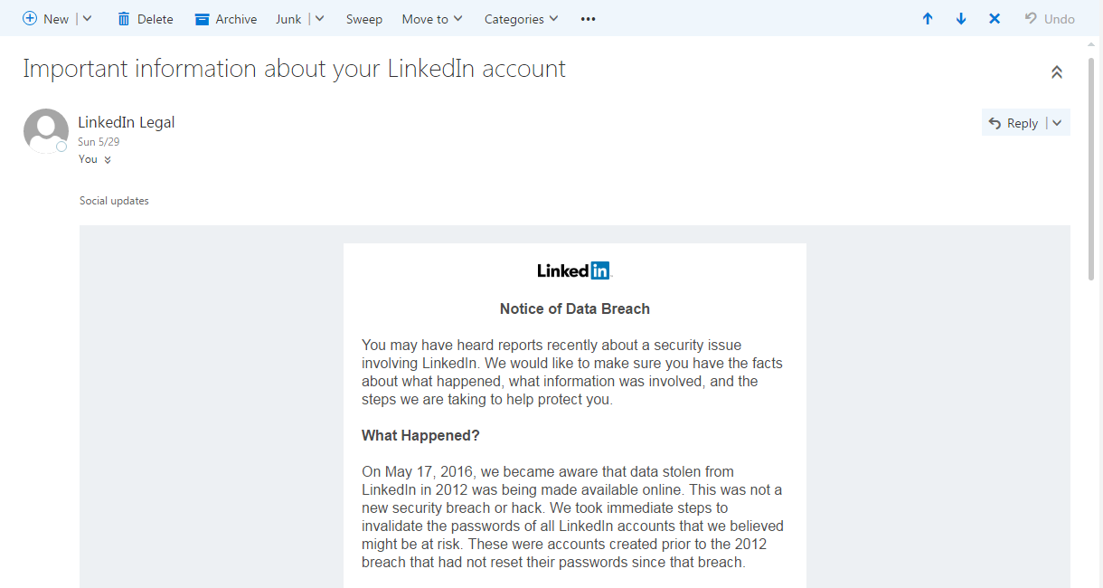 LinkedIn password change notific