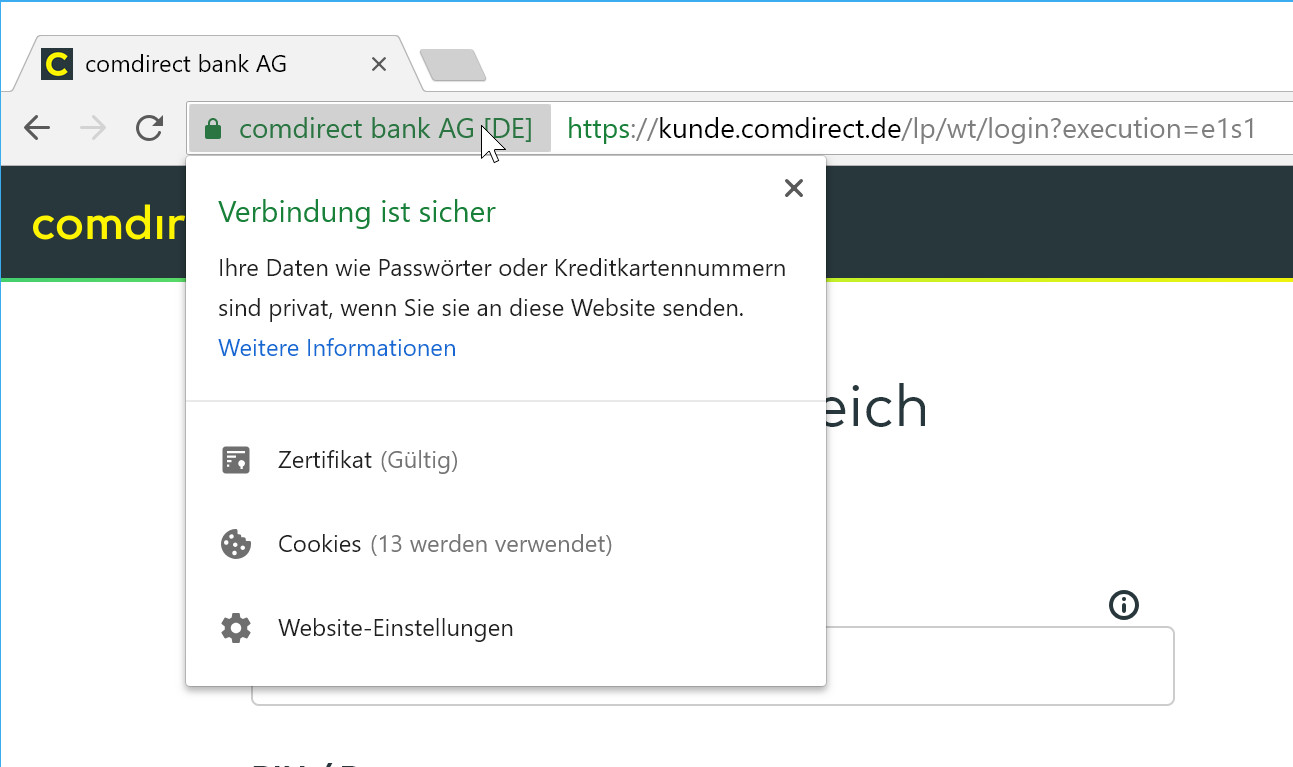 Per Klick auf das Schloss-Symbol wird das Zertifikat angezeigt und Sie wissen, ob Sie mit der richtigen Internetseite verbunden sind.