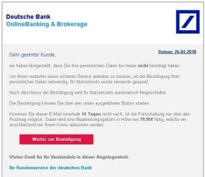 DSVGO - Phishingmails Deutsche Bank