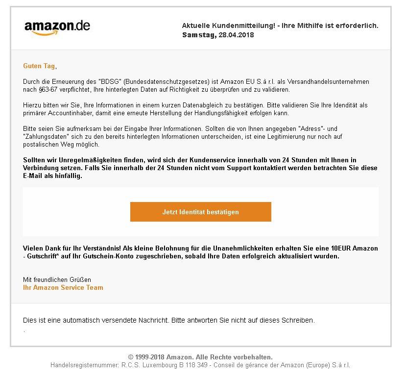 DSVGO - Phishing Amazon