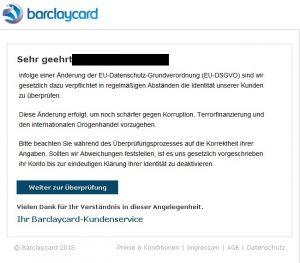 DSVGO - Phishingmails Barclaycard