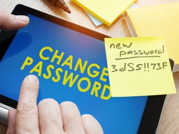 Man typing strong password