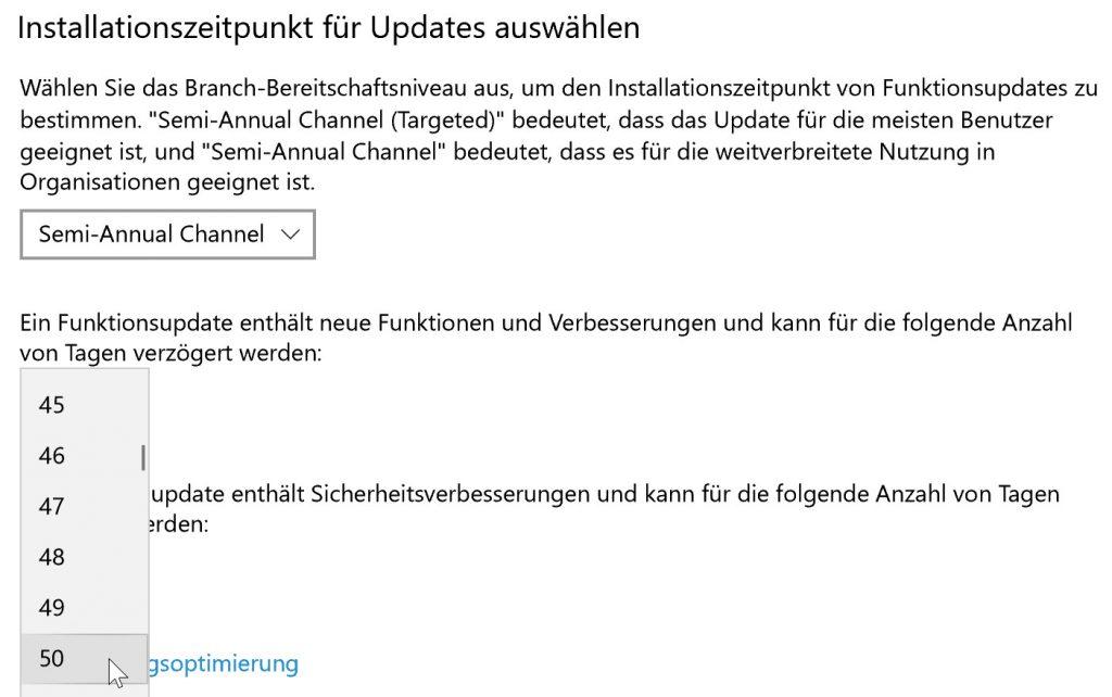 Installationszeitpunkt unter Windows 10 auswählen