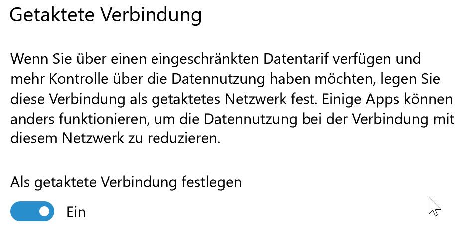 Getaktete Verbindung unter Windows 10 einstellen