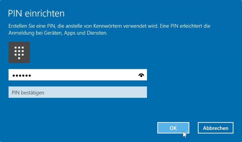 PIN einrichten unter Windows 10