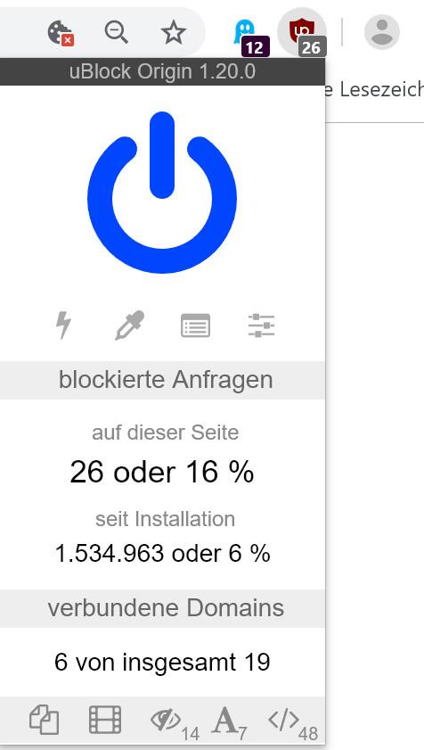 uBlock Origin blockiert Werbung gut und zuverlässig