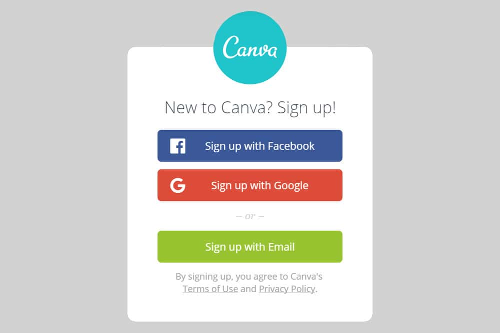 Canva Login with Facebook and Google option