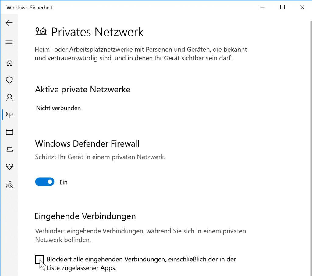 Nach dem Klick auf eine Netzwerk-Überschrift erscheinen die Firewall-Optionen. Das Kästchen unten kappt im Notfall sämtlichen Datenverkehr aus dem Internet.