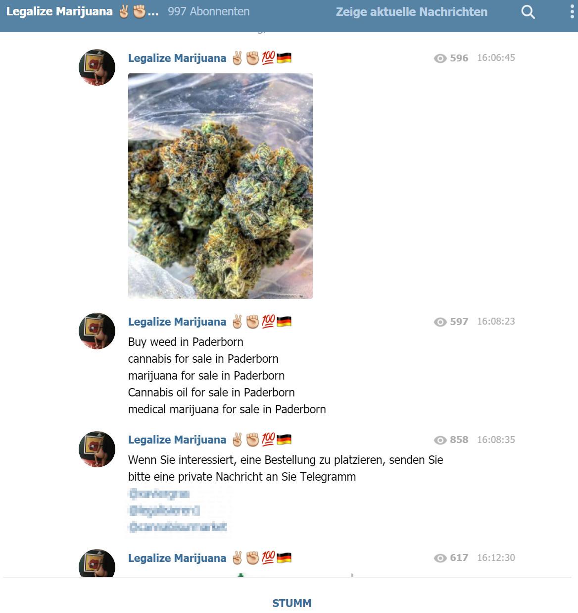 Fast wie bei einem Pizzataxi: Drogen aller Art lassen sich bei Telegram-Messenger ganz einfach per Kurier bestellen.