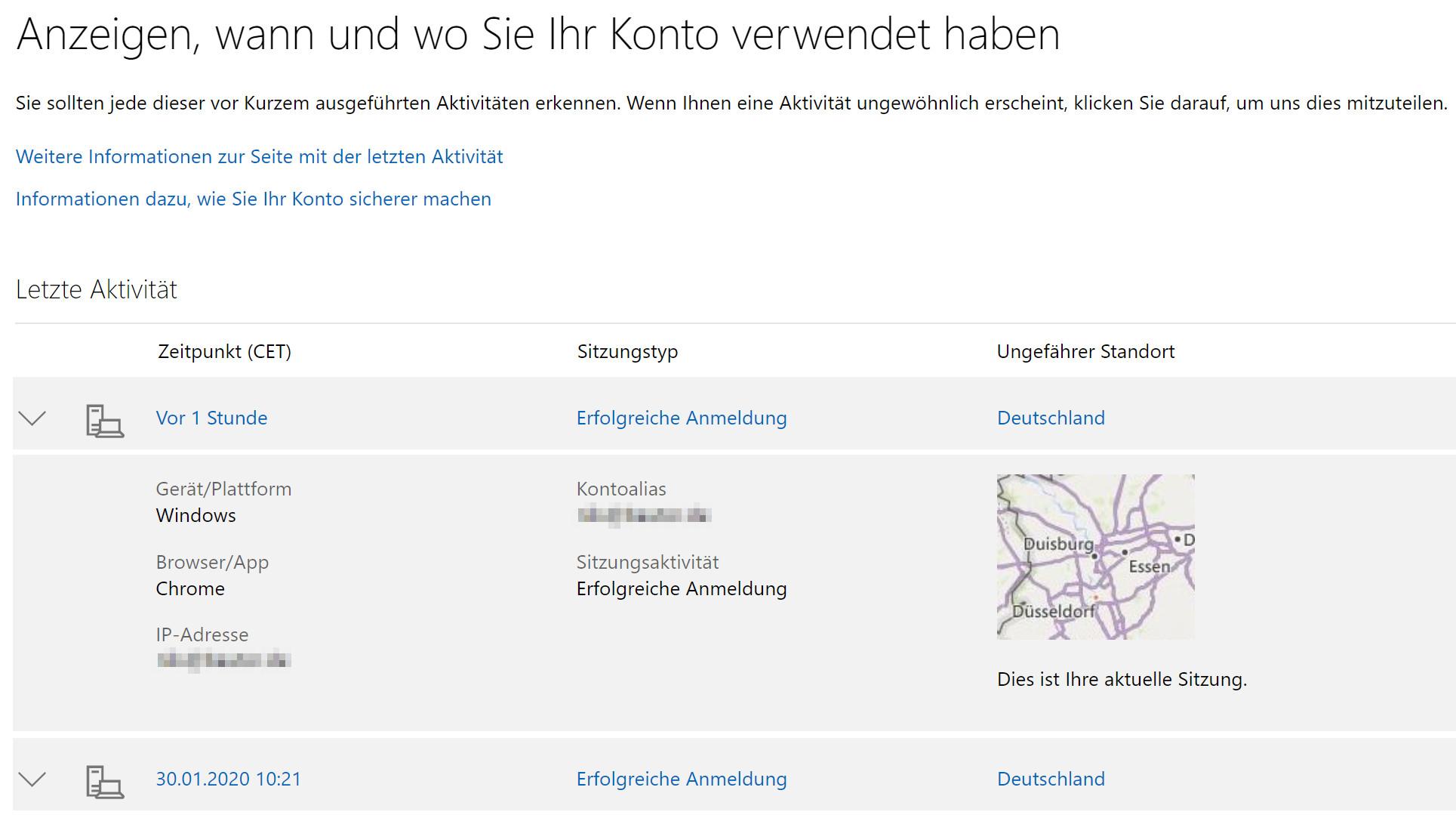 Microsoft-Konto: Ungefähre Standorte
