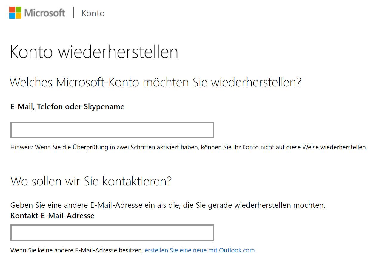 Microsoft: Konto wiederherstellen