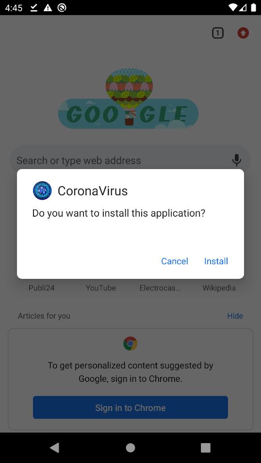 """Bild 2: Die Installationsabfrage von """"Corona-Apps.apk"""""""