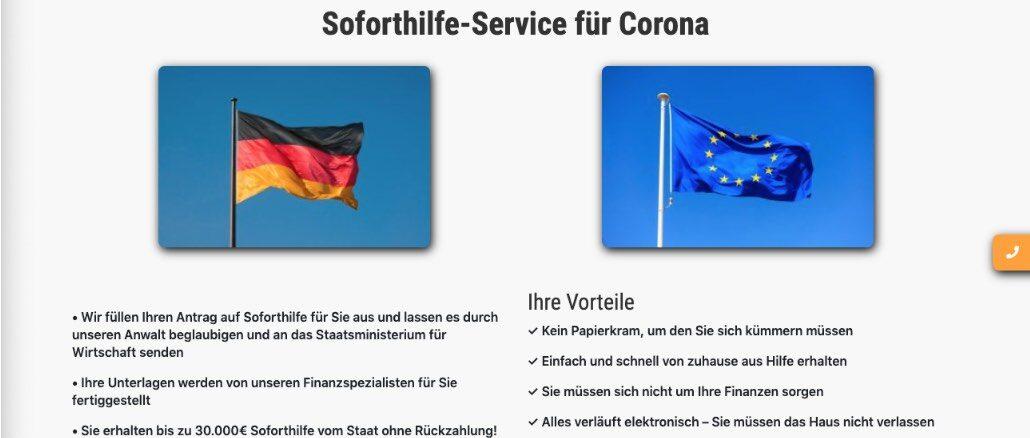 Diese Fake-Seite versprach bis zu 30.000 Euro Soforthilfe vom Staat.