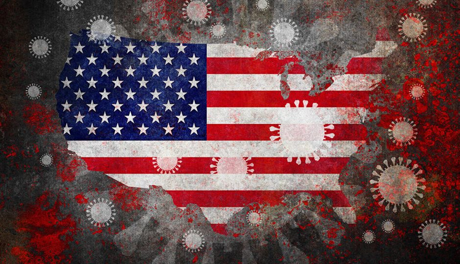 Illustration of the COVID-19 pandemic in the USA: map with flag