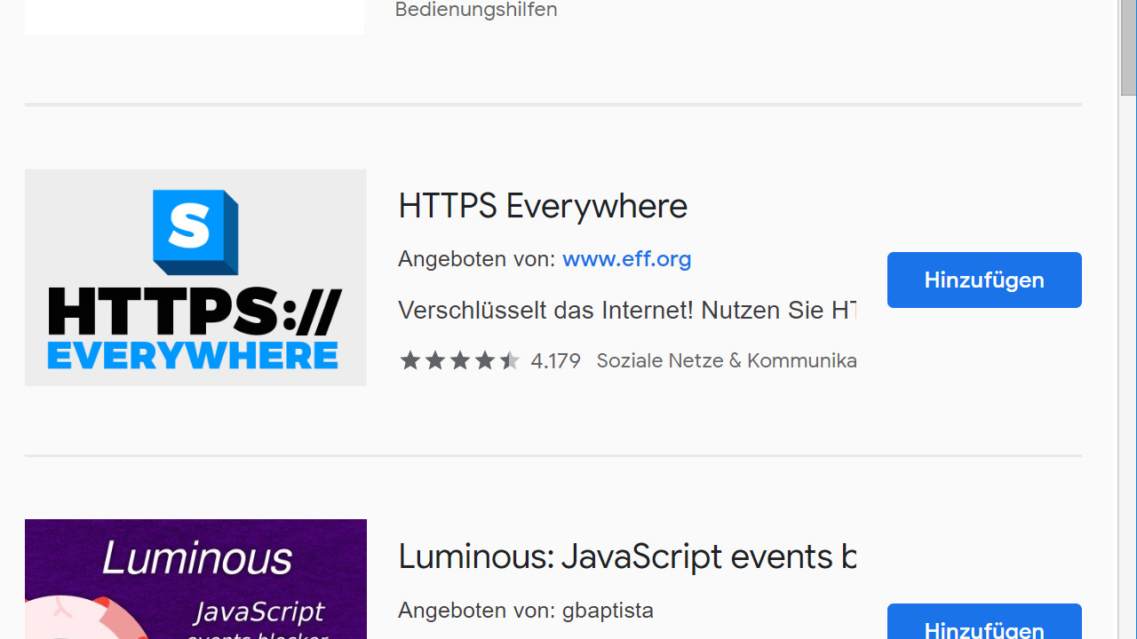 HTTPS Everywhere-Erweiterung in Chrome