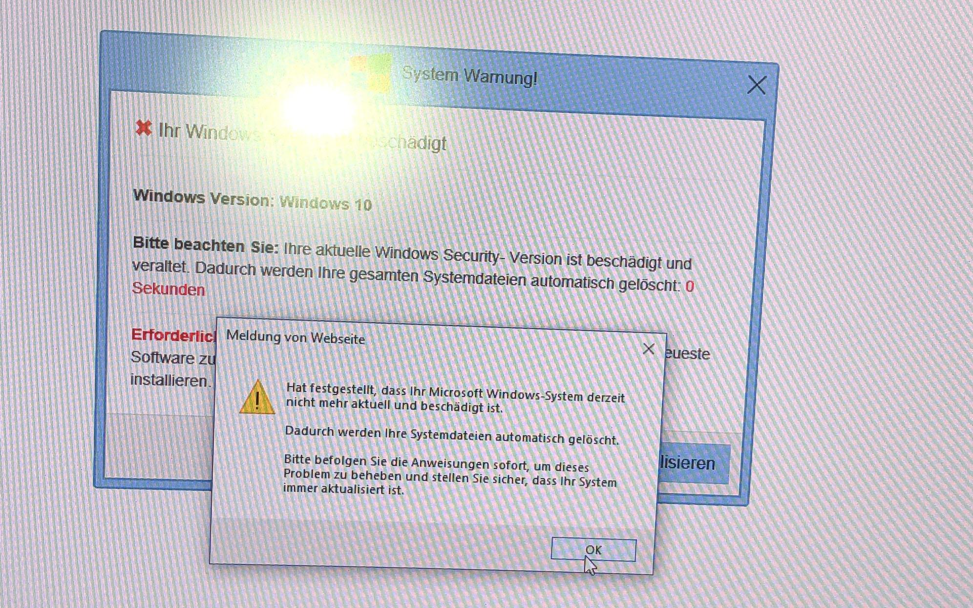 """""""Gut"""" gemachte Scareware produziert Meldungen, die auch von Windows stammen könnte."""