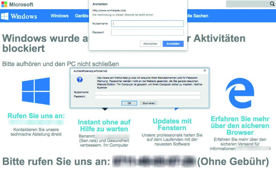 Scareware: Von derartigen Warnmeldungen im Browser sollten Sie sich nicht verunsichern lassen.