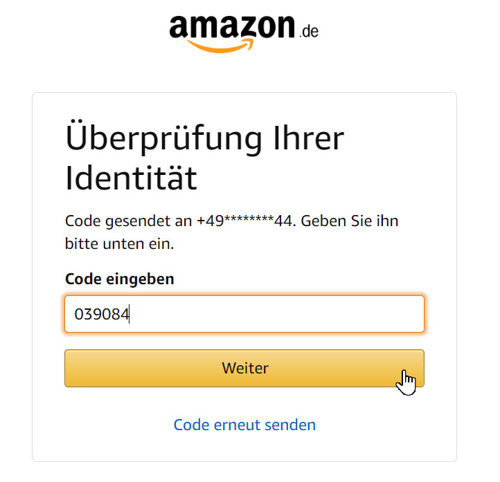Zwei-Faktor-Authentifizierung gegen den gehackten Amazon-Account