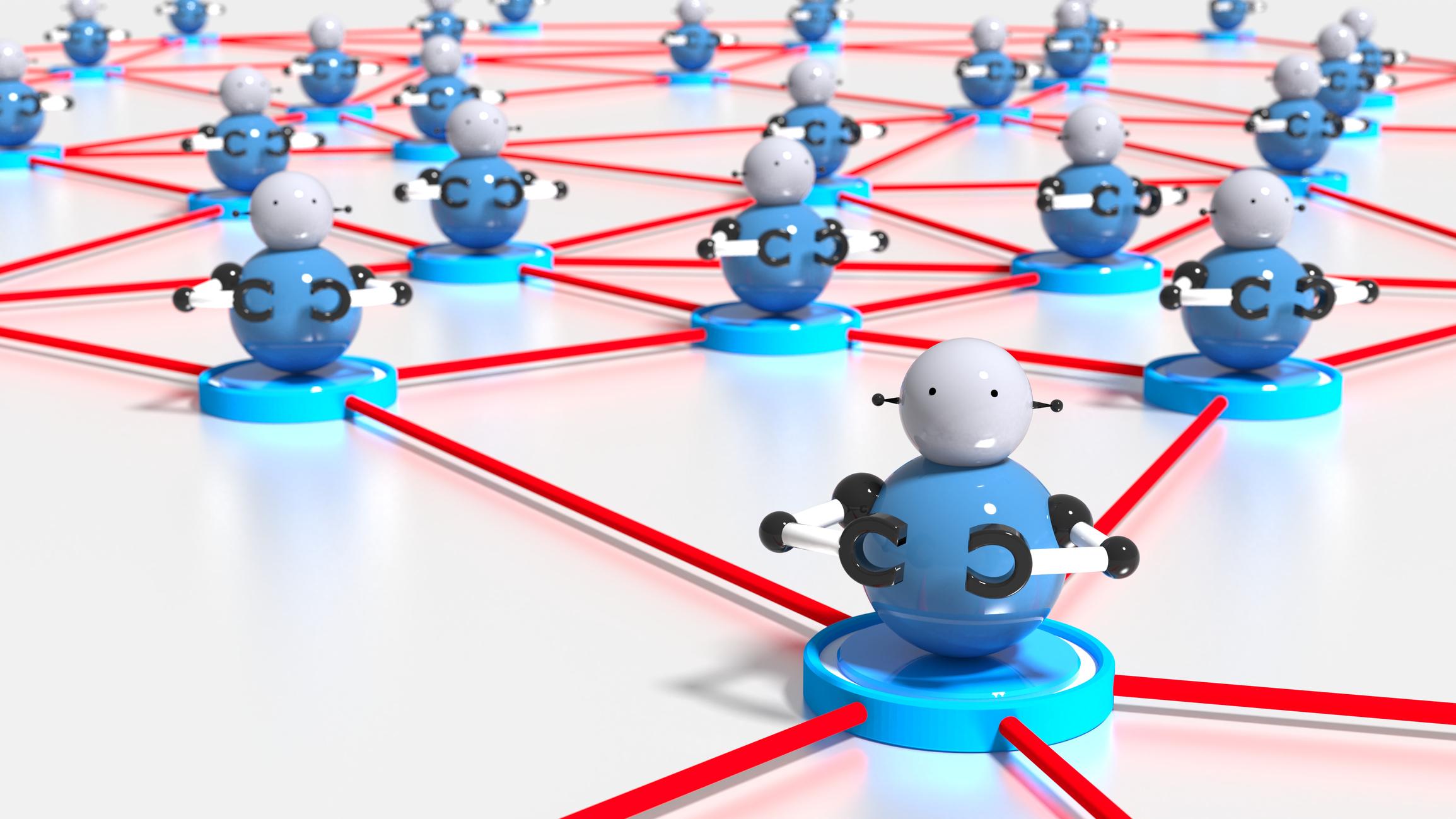 Typisches Peer-to-Peer-Modell des Mirai-Botnet