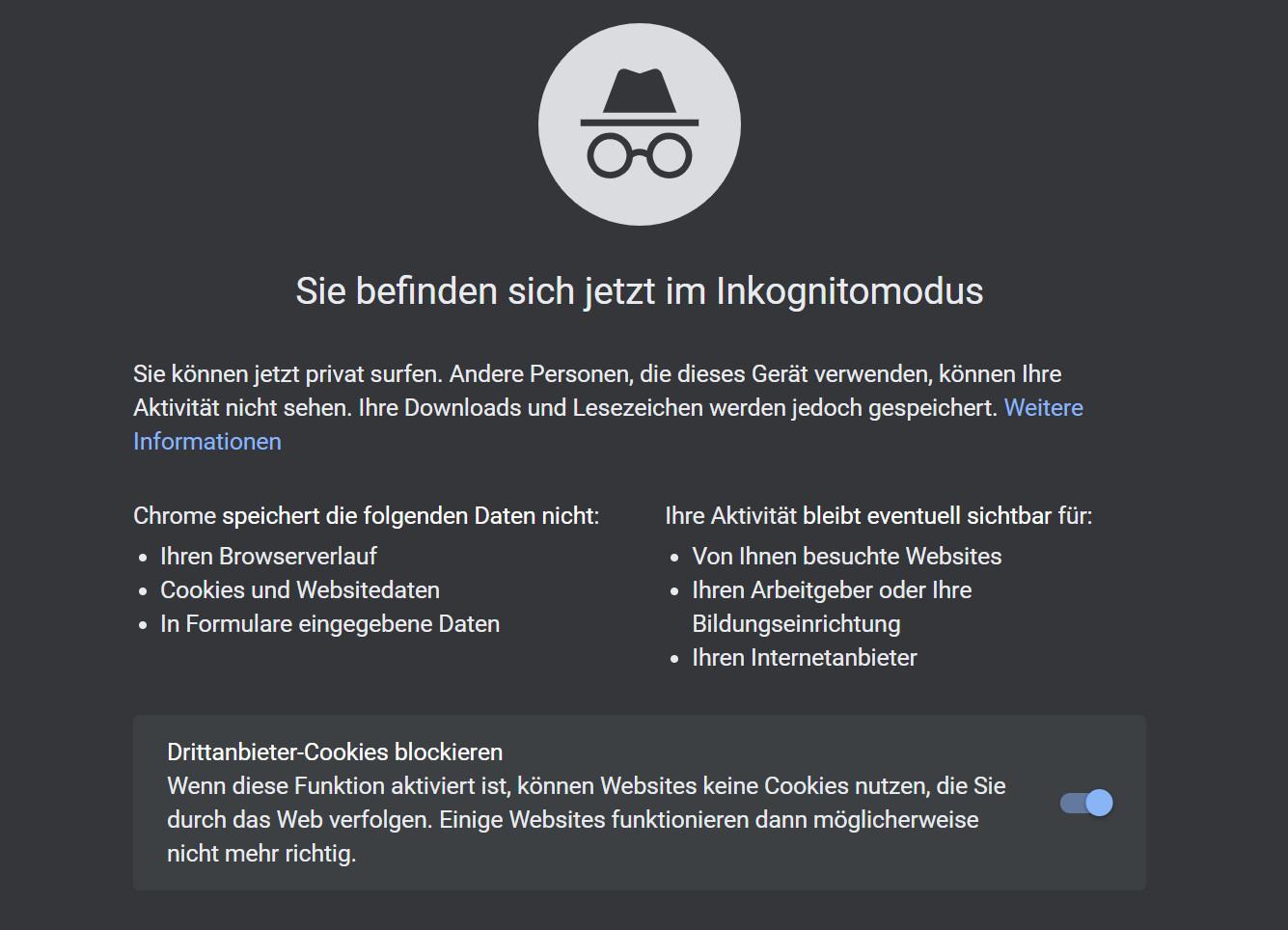 """Privatmodus: Von wegen """"privat surfen"""": Der Inkognitomodus von Chrome verhindert nicht, dass Nutzer im Web unerkannt bleiben."""