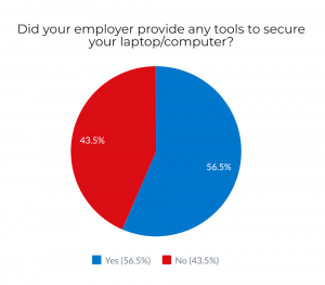 Chart: 56% of American employees received from their employers tools to secure their computers