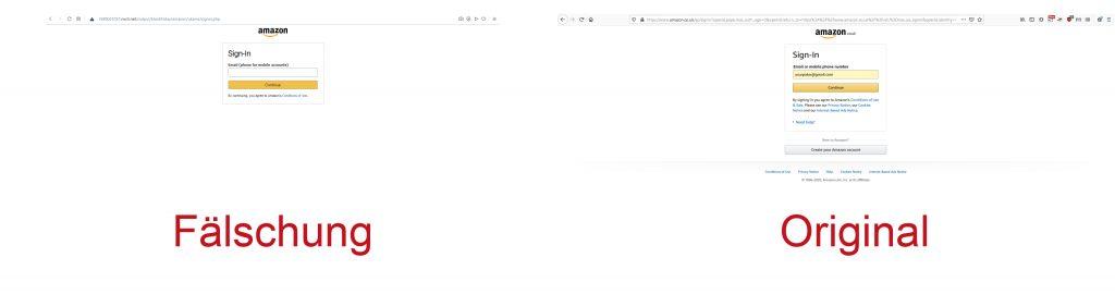 So kann eine Amazon Phishing-Seite am Black Friday aussehen