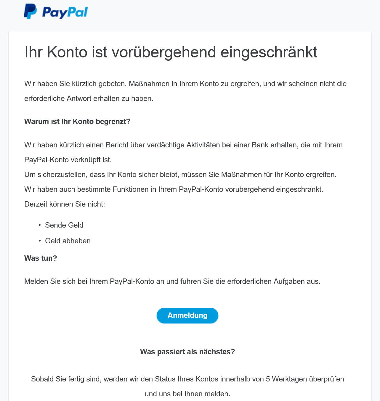 Paypal-Konto ist vorübergehend eingeschränkt