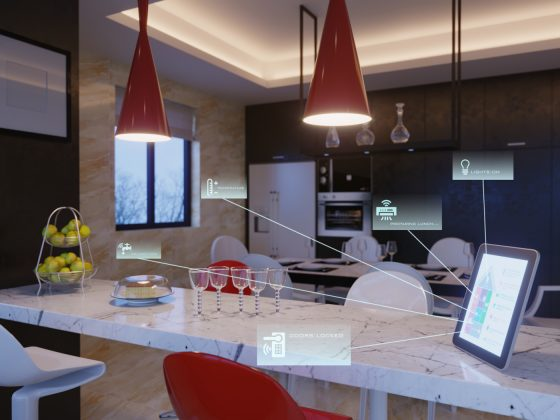 Illustration of smart home devices in a kitchen