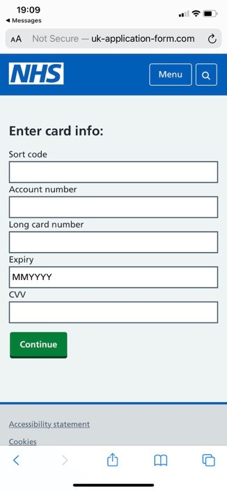 Screenshot of a phishing website mimicking the official NHS page