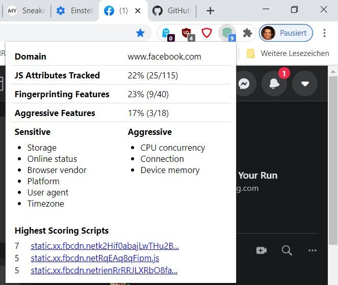 Das Plugin FPMON zeigt Ihnen, welche Browser-Daten Internetseiten abrufen.