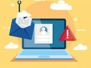 Data phishing hacking online scam illustration, with laptop and envelope hook.
