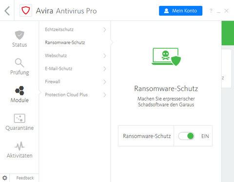 Avira Antivirus Pro Ransomware-Schutz Screenshot