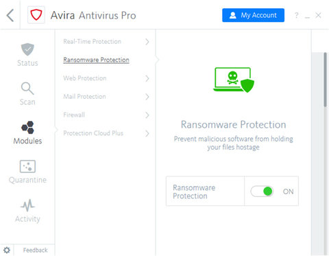 Avira Antivirus Pro Ransomware Protection Screenshot