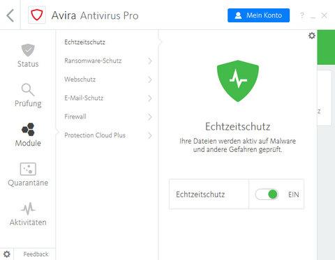 Avira Antivirus Pro Echtzeitschutz Screenshot