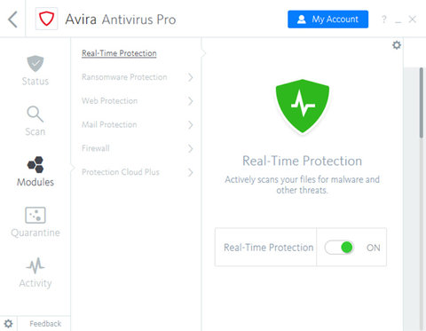Avira Antivirus Pro Real-Time Protection Screenshot