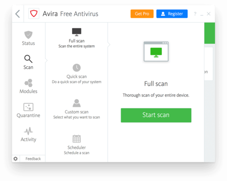 Avira Free Antivirus for Windows Full Scan Screenshot