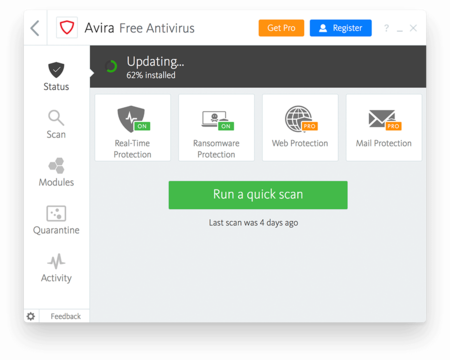 Avira Free Antivirus for Windows Update Screenshot