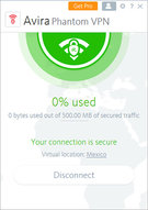 Avira Free Phantom VPN Windows Screenshot